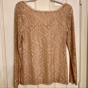 WHBM long sleeve lace nude rose top long sleeve